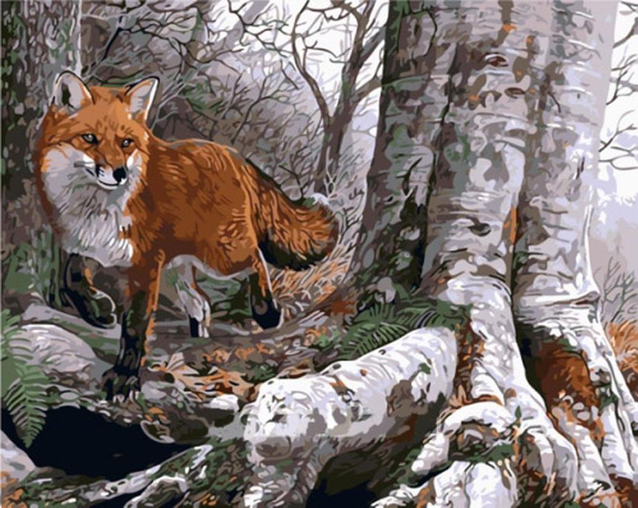 Картина по номерам «Лисица в лесу» Эла ЭгньюMenglei (Premium)<br><br><br>Артикул: MG751<br>Основа: Холст<br>Сложность: сложные<br>Размер: 40x50 см<br>Количество цветов: 25<br>Техника рисования: Без смешивания красок