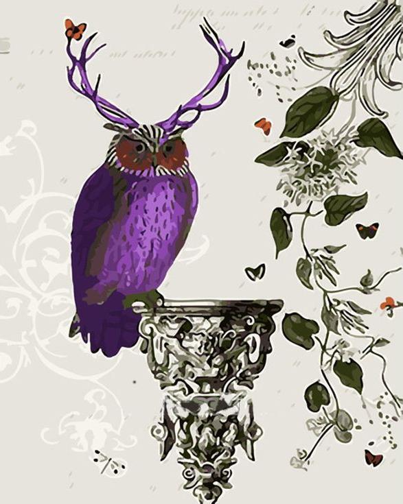 «Пурпурная сова»Menglei (Premium)<br><br><br>Артикул: MG752<br>Основа: Холст<br>Сложность: сложные<br>Размер: 40x50<br>Количество цветов: 21<br>Техника рисования: Без смешивания красок