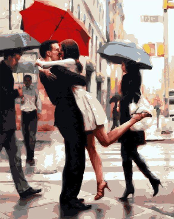 Картина по номерам «Счастье под зонтом» Даниэля дель ОрфаноMenglei (Premium)<br><br>