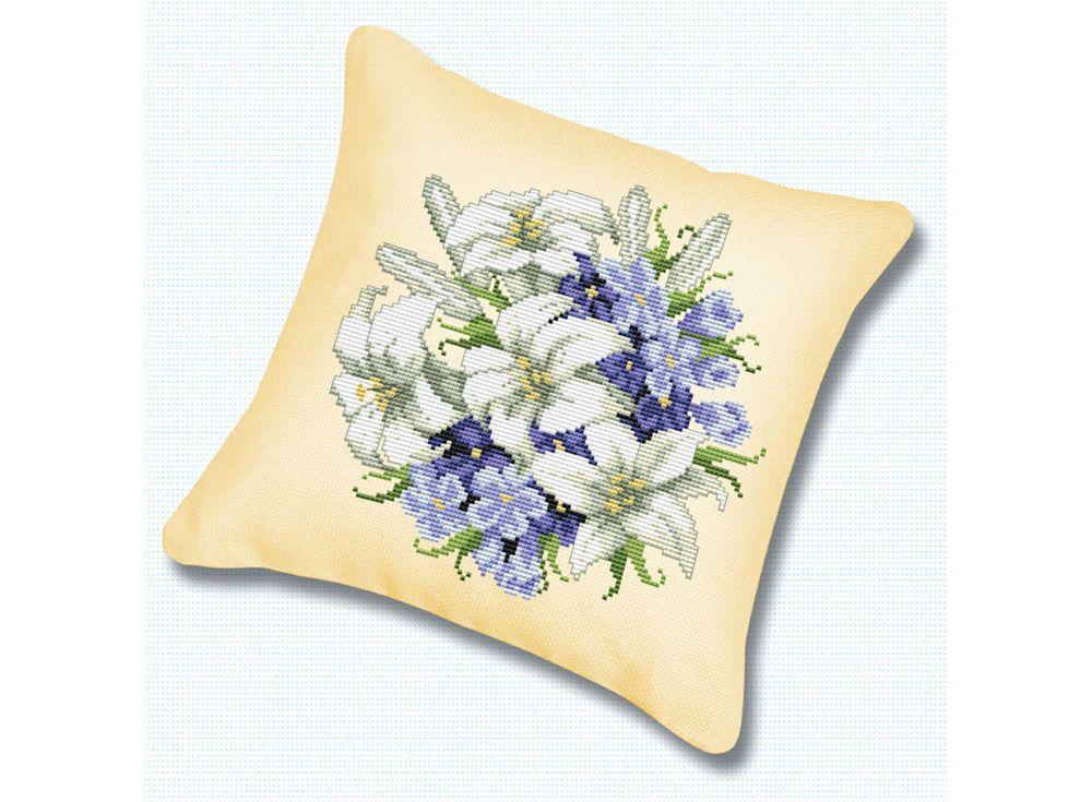 Подушка «Лилии» (канва бежевая)