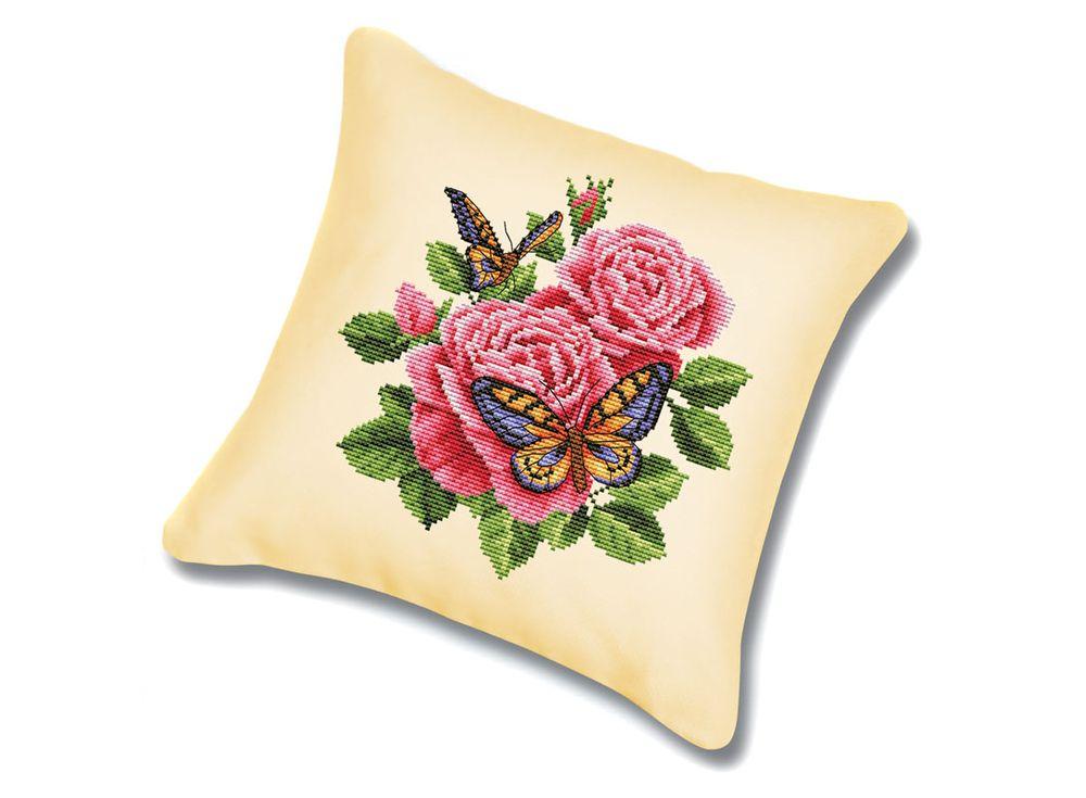 Подушка «Бабочки и розы» (канва бежевая)