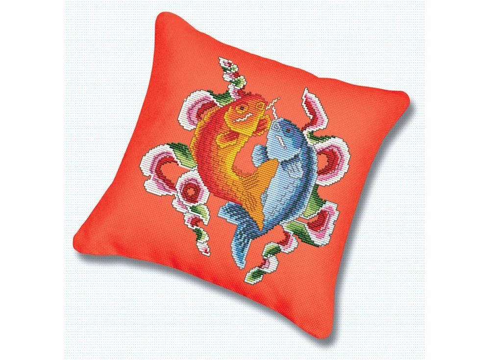 Подушка «Цветные рыбы» (канва красная)