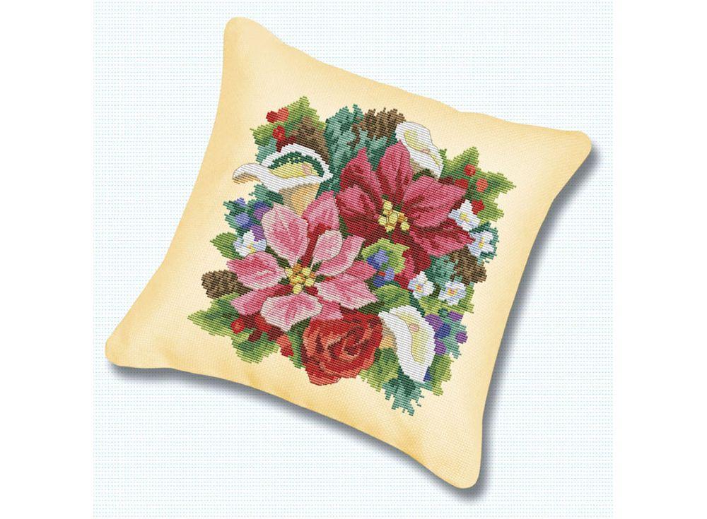 Подушка «Букет» (канва бежевая)