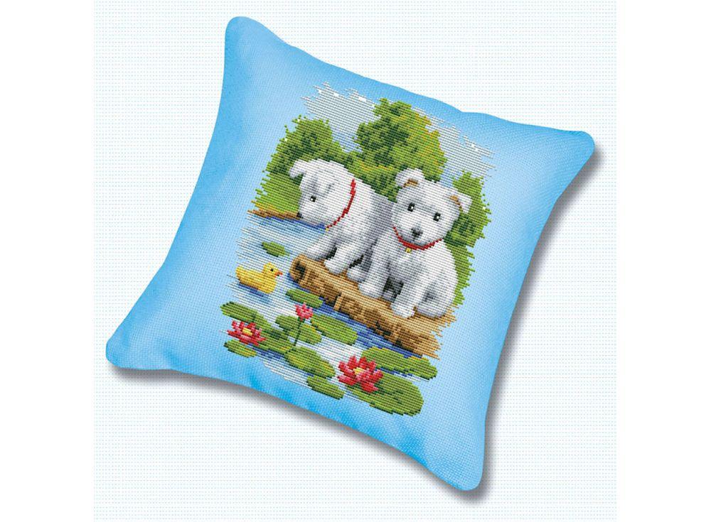 Подушка «Два щенка» (канва голубая)