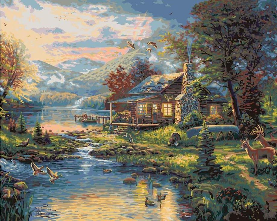 «Рай на земле» Томаса КинкейдаРаскраски по номерам Plaid<br><br><br>Артикул: PLD-21795<br>Основа: Картон<br>Сложность: очень сложные<br>Размер: 41x51 см<br>Количество цветов: 25<br>Техника рисования: Без смешивания красок