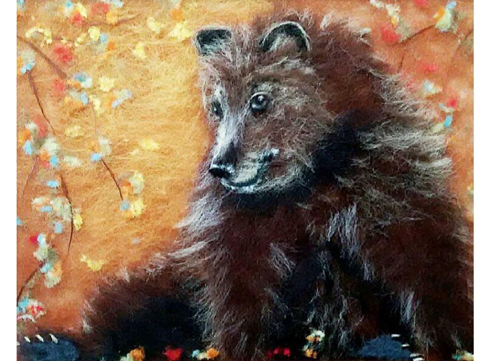 Картина шерстью «Мишка»