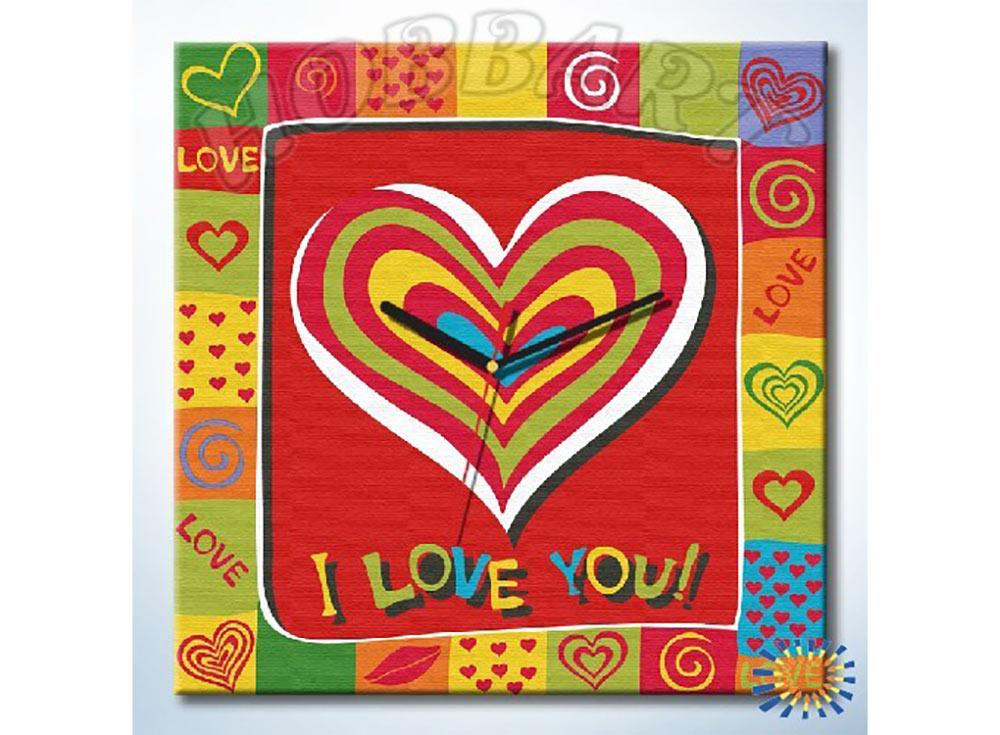 Раскраска-часы «Любовь в сердце»Часы-раскраски по номерам<br><br><br>Артикул: SH4040002<br>Основа: Холст<br>Сложность: средние<br>Размер: 40x40 см<br>Количество цветов: 10