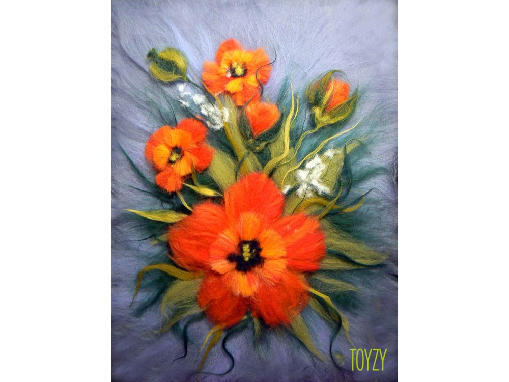 Картина шерстью «Маки»Картины шерстью Toyzy<br>Набор содержит все, что необходимо для творческого процесса. Порядок работы над картиной шерстью подробно, с фото и пояснениями изложен в инструкции, которой укомплектован набор. Выкладывайте цветную шерсть на подложку слой за слоем, это как рисован...<br><br>Артикул: TZ-P008<br>Сложность: средние<br>Размер: 21x29,7 см (А4)<br>Материал: 100% натуральная шерсть
