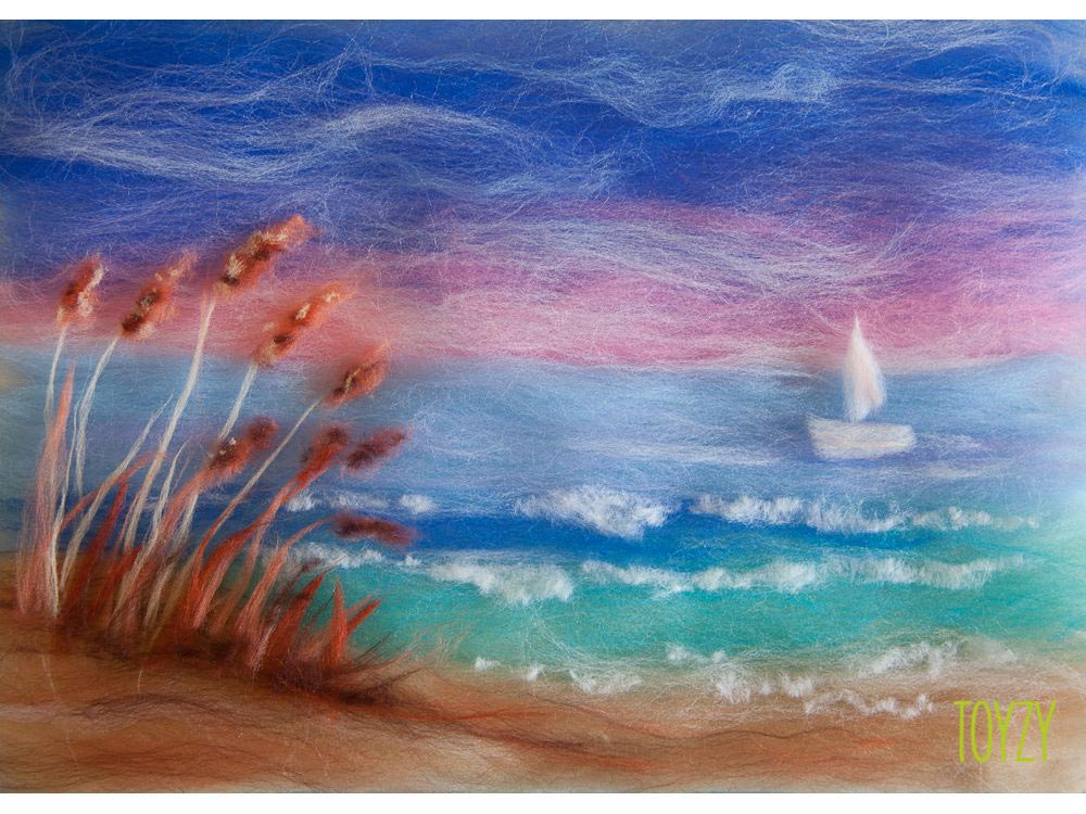 Картина шерстью «Морской берег»Картины шерстью Toyzy<br>Набор содержит все, что необходимо для творческого процесса. Порядок работы над картиной шерстью подробно, с фото и пояснениями изложен в инструкции, которой укомплектован набор. Выкладывайте цветную шерсть на подложку слой за слоем, это как рисован...<br><br>Артикул: TZ-P016<br>Сложность: средние<br>Размер: 21x29,7 см (А4)<br>Материал: 100% натуральная шерсть