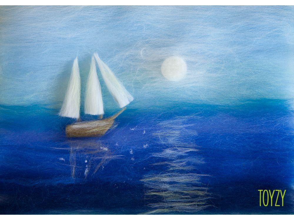Картина шерстью «Корабль в море»Картины шерстью Toyzy<br>Набор содержит все, что необходимо для творческого процесса. Порядок работы над картиной шерстью подробно, с фото и пояснениями изложен в инструкции, которой укомплектован набор. Выкладывайте цветную шерсть на подложку слой за слоем, это как рисован...<br><br>Артикул: TZ-P017<br>Сложность: легкие<br>Размер: 21x29,7 см (А4)<br>Материал: 100% натуральная шерсть