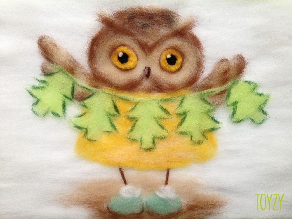 Картина шерстью «Сова с елочками»Картины шерстью Toyzy<br>Набор содержит все, что необходимо для творческого процесса. Порядок работы над картиной шерстью подробно, с фото и пояснениями изложен в инструкции, которой укомплектован набор. Выкладывайте цветную шерсть на подложку слой за слоем, это как рисован...<br><br>Артикул: TZ-P029<br>Сложность: средние<br>Размер: 21x29,7 см (А4)<br>Материал: 100% натуральная шерсть