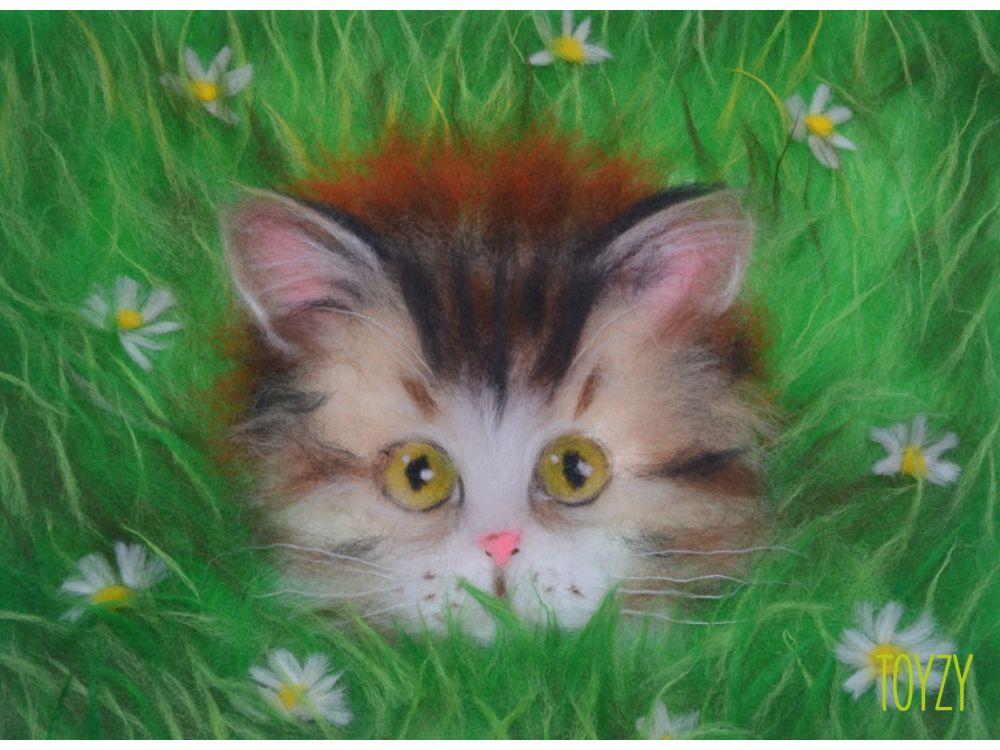 Картина шерстью «Котик»Картины шерстью Toyzy<br>Набор содержит все, что необходимо для творческого процесса. Порядок работы над картиной шерстью подробно, с фото и пояснениями изложен в инструкции, которой укомплектован набор. Выкладывайте цветную шерсть на подложку слой за слоем, это как рисован...<br><br>Артикул: TZ-P040<br>Сложность: средние<br>Размер: 21x29,7 см (А4)<br>Материал: 100% натуральная шерсть