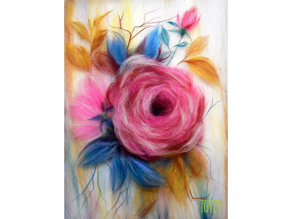 Картина шерстью «Роза»Картины шерстью Toyzy<br>Набор содержит все, что необходимо для творческого процесса. Порядок работы над картиной шерстью подробно, с фото и пояснениями изложен в инструкции, которой укомплектован набор. Выкладывайте цветную шерсть на подложку слой за слоем, это как рисован...<br><br>Артикул: TZ-P046<br>Сложность: средние<br>Размер: 21x29,7 см (А4)<br>Материал: 100% натуральная шерсть