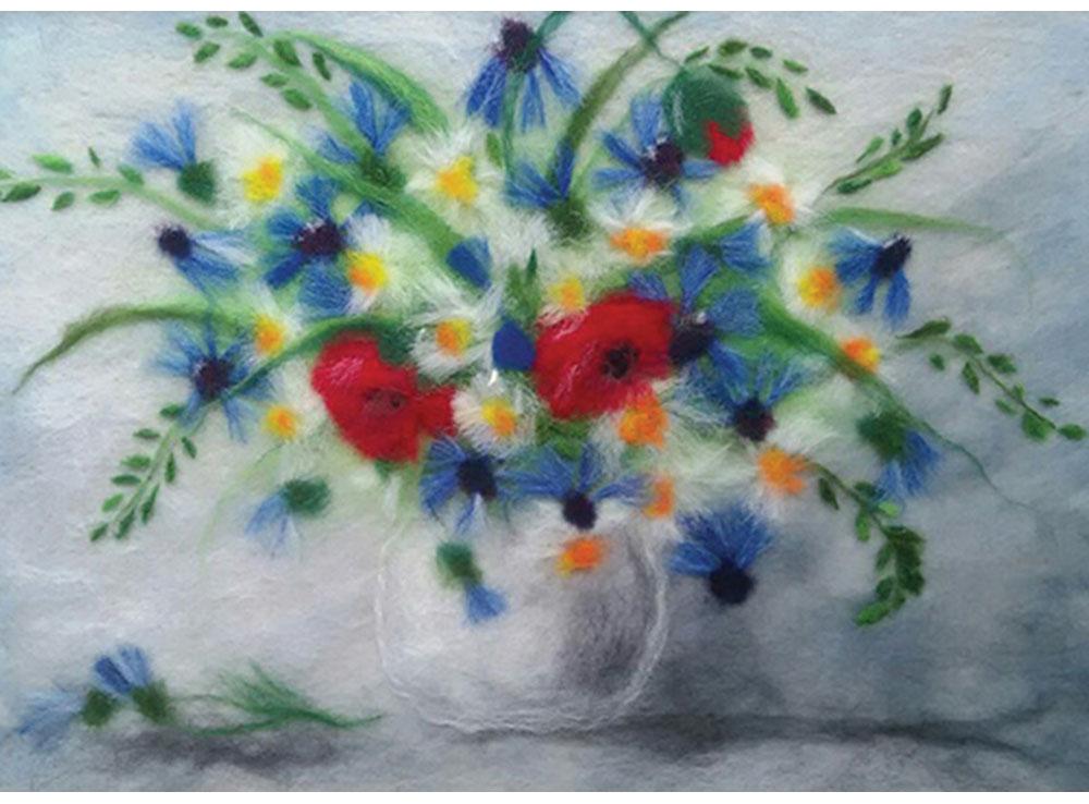 Картина шерстью «Ромашки, маки, васильки»