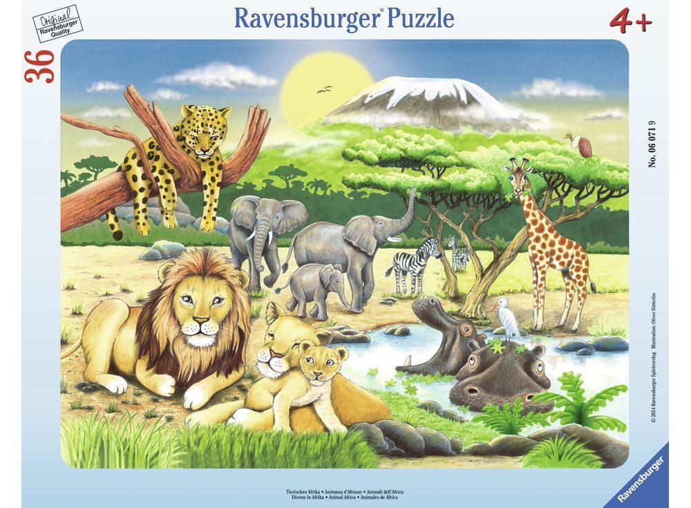 Пазлы «Животный мир Африки»Ravensburger<br><br><br>Артикул: 6071<br>Размер: 32,5x24,5 см