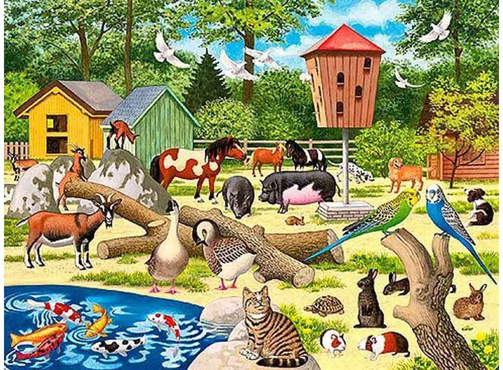 Пазлы «В детском зоопарке»Ravensburger<br><br><br>Артикул: 6777<br>Размер: 32,5x24,5 см