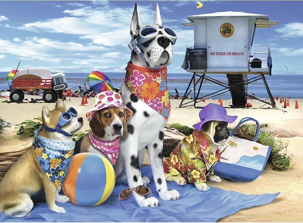 Пазлы «Собаки на пляже»Ravensburger<br><br><br>Артикул: 10526<br>Размер: 49x36 см