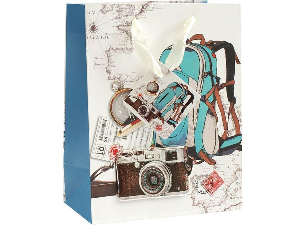 Подарочный пакет «Опять в школу»Подарочные пакеты<br><br><br>Артикул: 1068-SB<br>Размер: 18x10x23 см