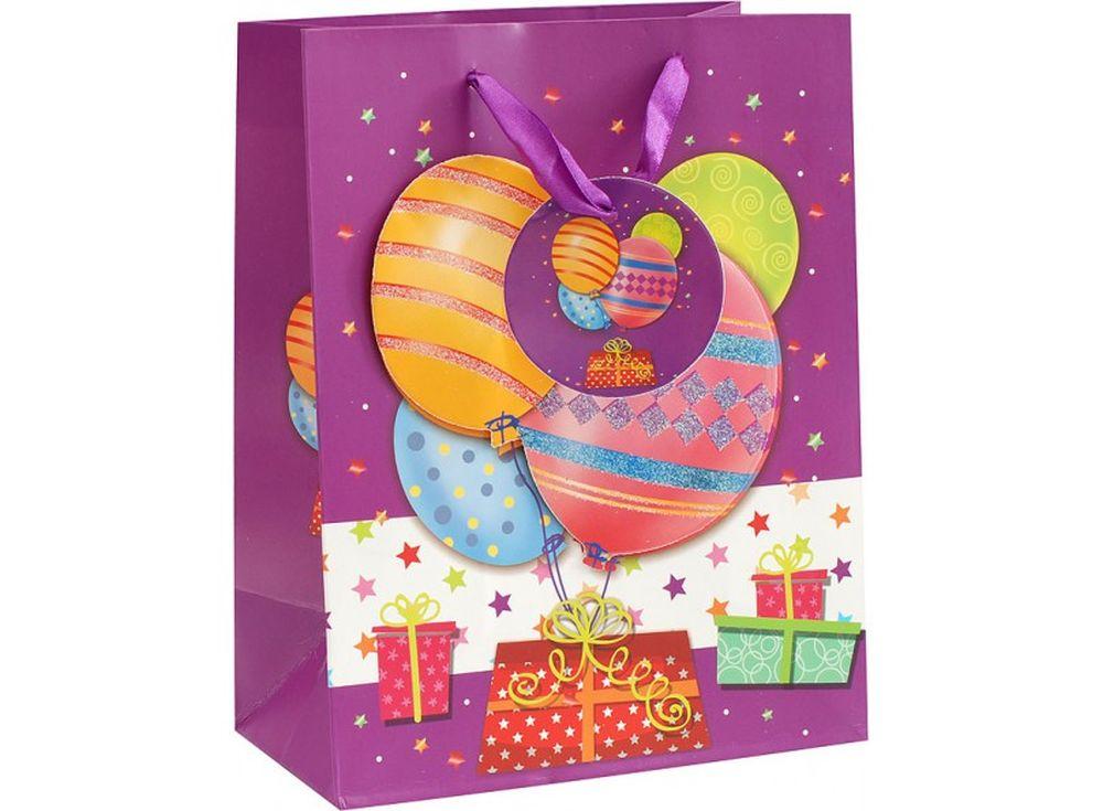 Подарочный пакет «Шары на день рождения»Подарочные пакеты<br><br><br>Артикул: 1081-SB<br>Размер: 18x10x23 см