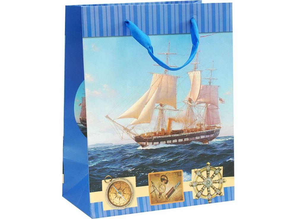 Подарочный пакет «Парусник»Подарочные пакеты<br><br><br>Артикул: 1510-SB<br>Размер: 18x10x23 см