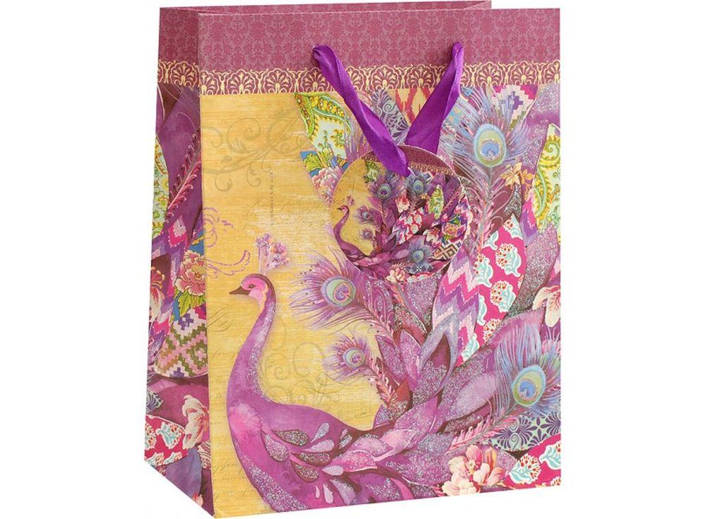 Подарочный пакет «Фиолетовый павлин»Подарочные пакеты<br><br><br>Артикул: 1611-SB<br>Размер: 26x32x12 см