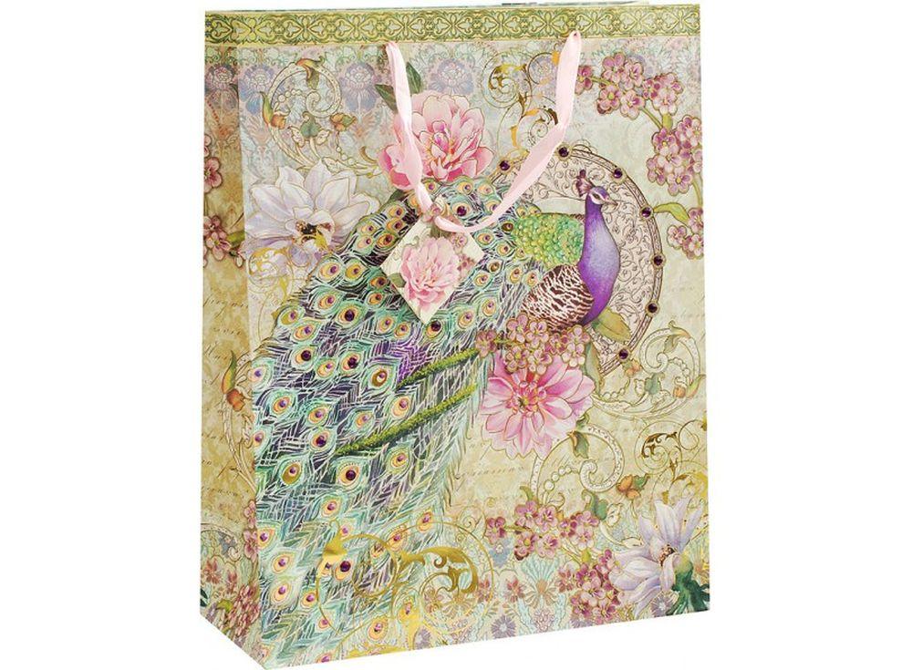 Подарочный пакет «Павлин в цветах»Подарочные пакеты<br><br><br>Артикул: 1618-SB<br>Размер: 30,3x12,8x38,8 см