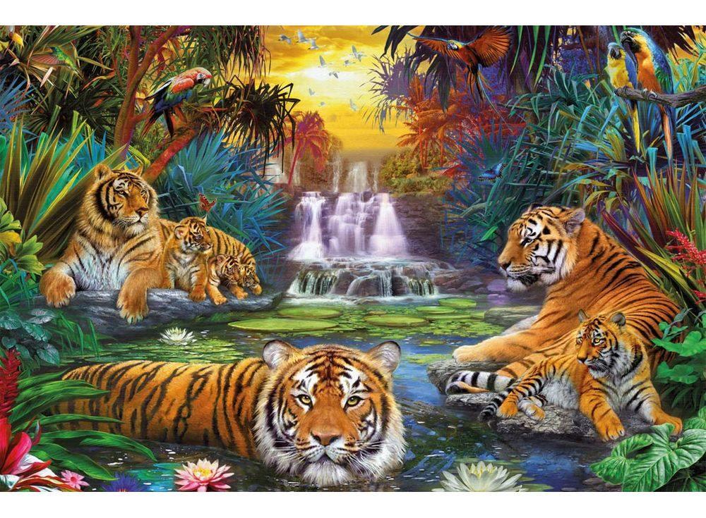 Пазлы «Тигры у воды»Ravensburger<br><br><br>Артикул: 17057<br>Размер: 121x80 см