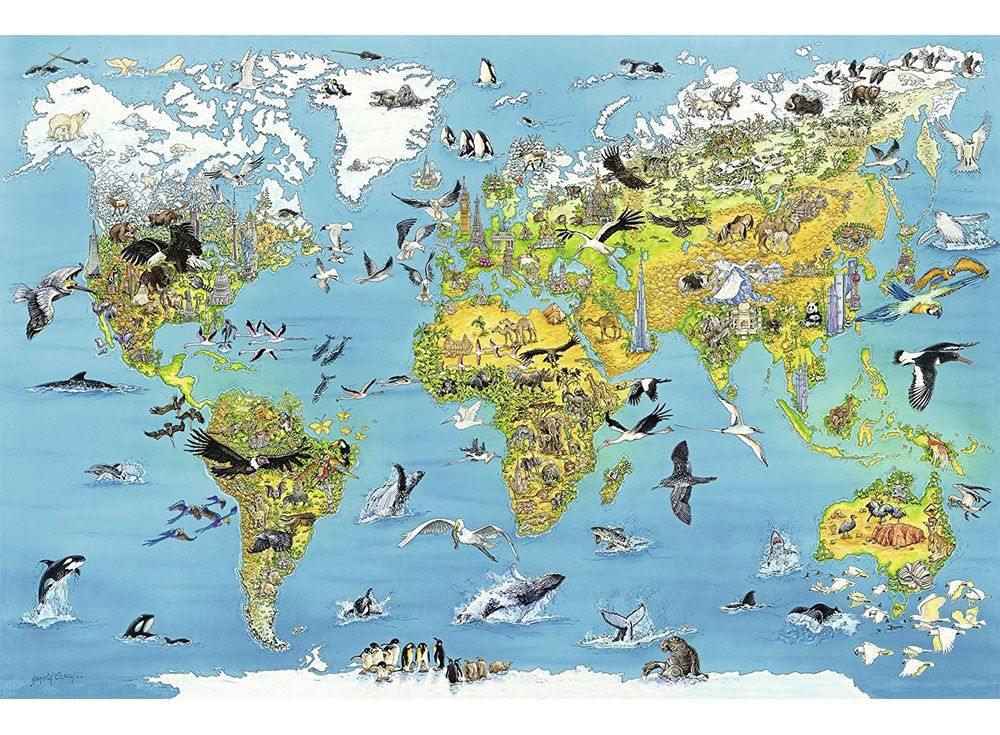 Пазлы «Карта мира с животными»Ravensburger<br><br><br>Артикул: 17428<br>Размер: 153x101 см