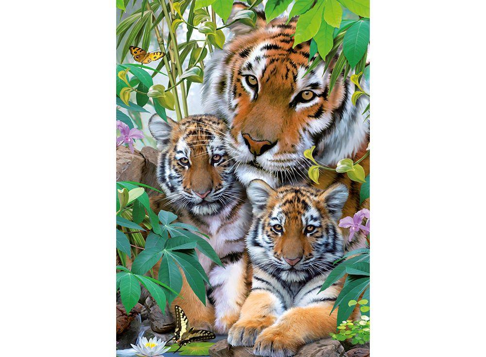 Пазлы «Семья тигров»Ravensburger<br><br><br>Артикул: 19117<br>Размер: 50x70 см
