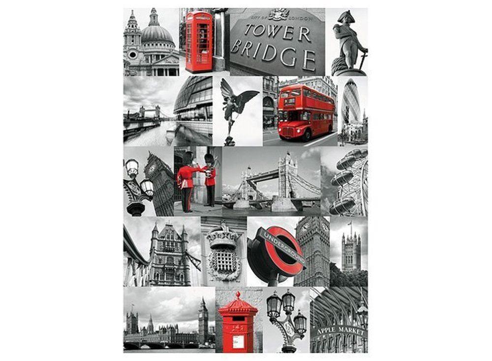 Пазлы «Лондон в картинках»Ravensburger<br><br><br>Артикул: 19144<br>Размер: 50x70 см