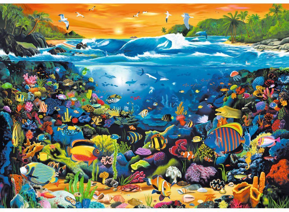Пазлы «Подводный мир»Ravensburger<br><br><br>Артикул: 19268<br>Размер: 50x70 см