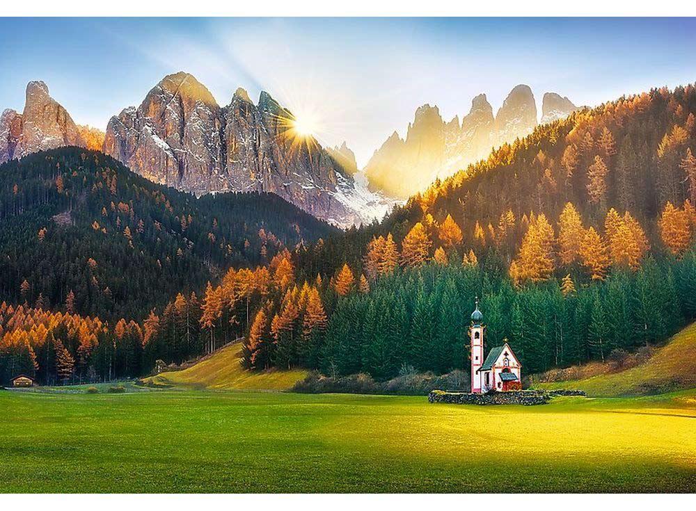 Пазлы «Церковь в Доломитовых Альпах»Trefl<br><br><br>Артикул: 26134<br>Размер: 85x58 см