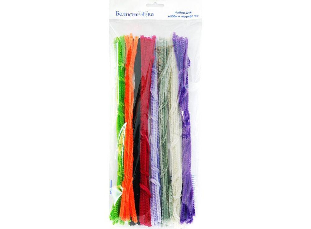 Пушистая проволока Шенил, 8 цветовФурнитура для игрушек<br><br><br>Артикул: 341-PM<br>Размер: 6x300 мм<br>Количество: 8 цветов по 10 шт.<br>Материал: Проволока, полиэстер