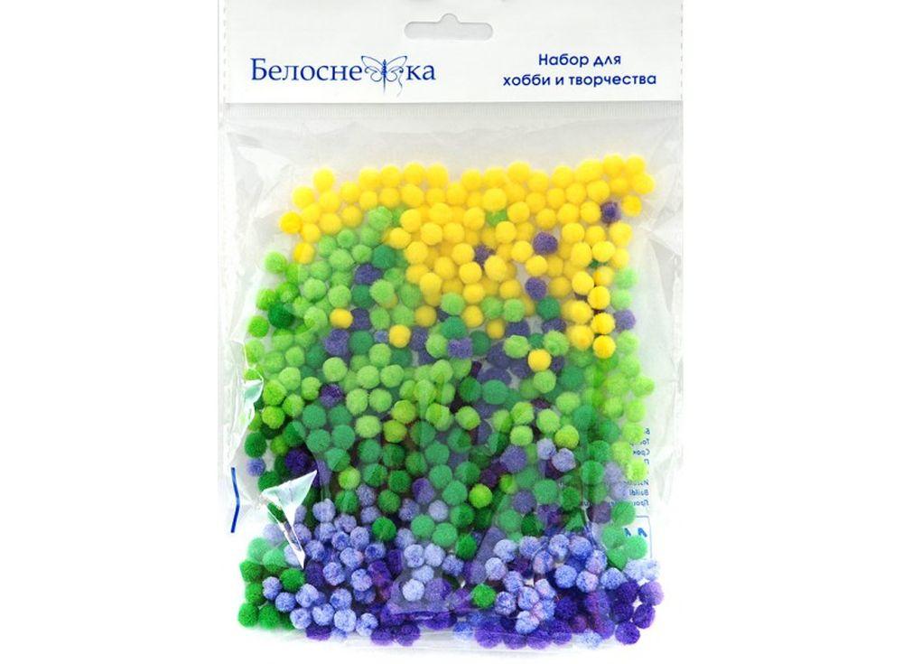 Декоративные помпоны, 5 цветовФурнитура для игрушек<br><br><br>Артикул: 405-PM<br>Размер: 5 мм<br>Количество: 5 цветов по 100 шт.<br>Материал: Искусственное волокно