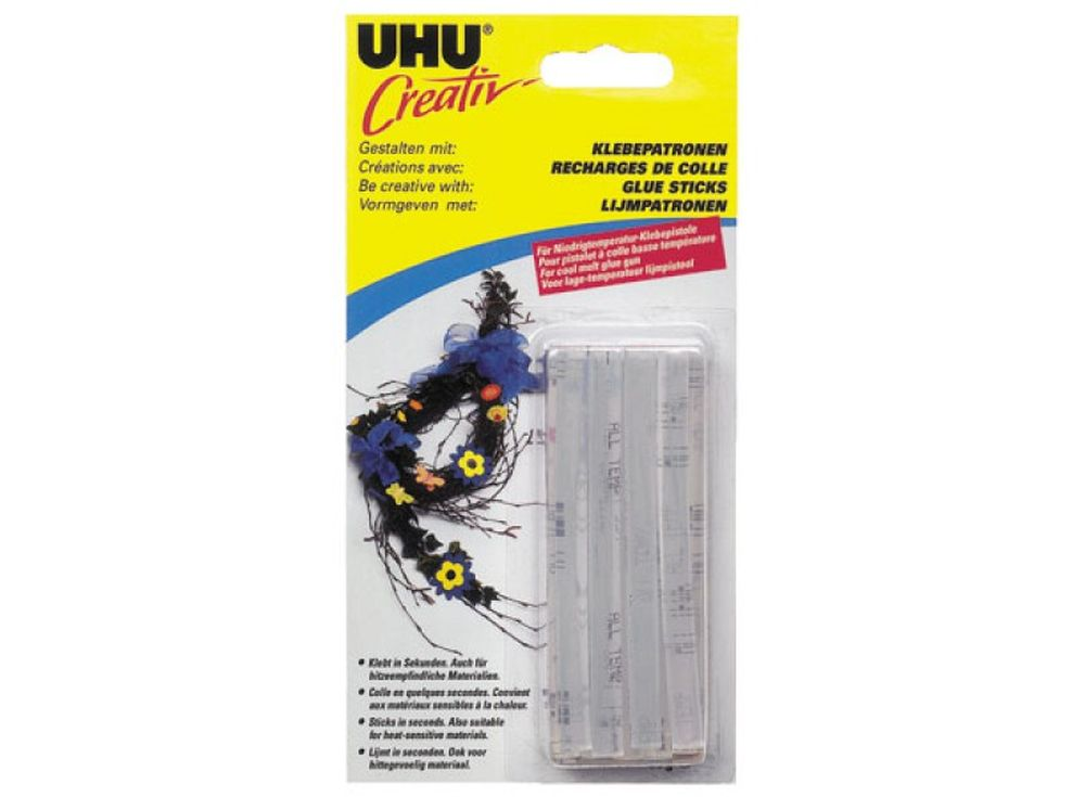 Патроны для клеевого пистолета UHU Creativ прозрачныеКлей для рукоделия<br><br><br>Артикул: 44180/44183<br>Количество: 14 шт.