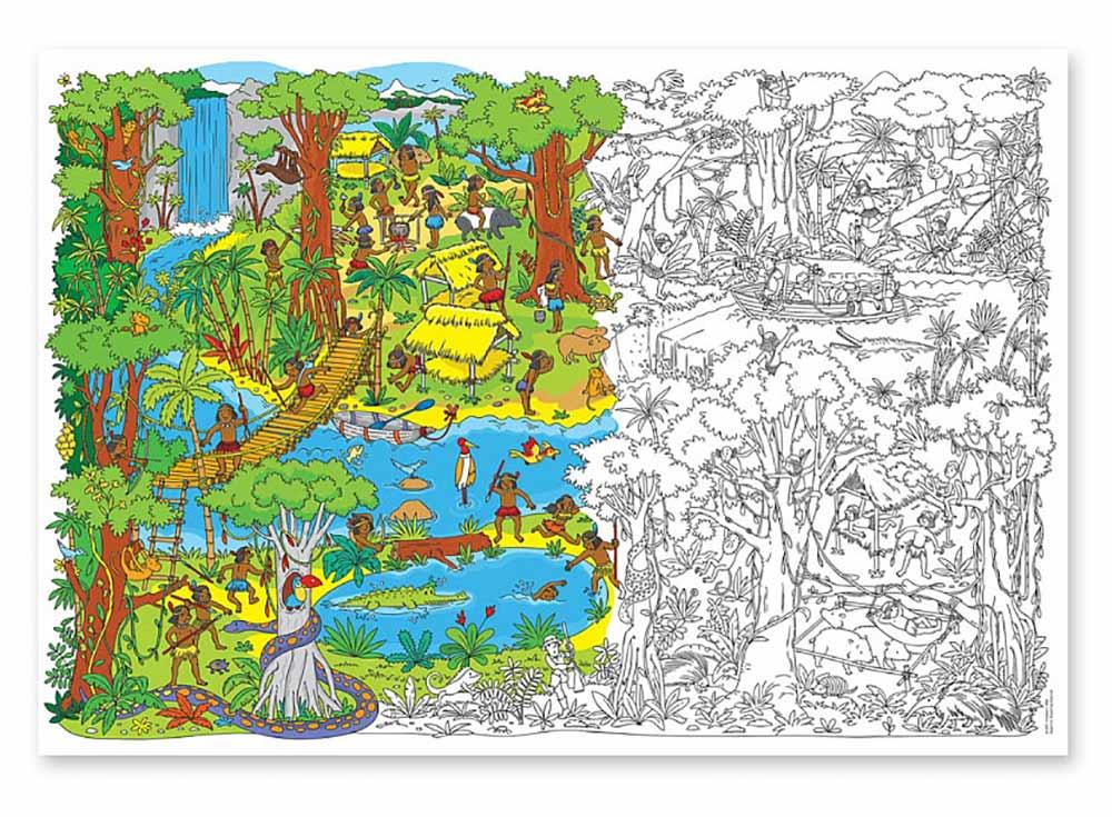Большая раскраска «Джунгли»Карты-раскраски<br><br><br>Артикул: 4607177453613<br>Основа: Плотная офсетная бумага<br>Размер: 101x69 см