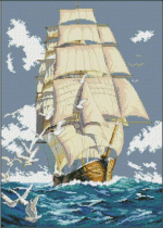 Алмазная вышивка Цветной Стразы «Парусник» A097