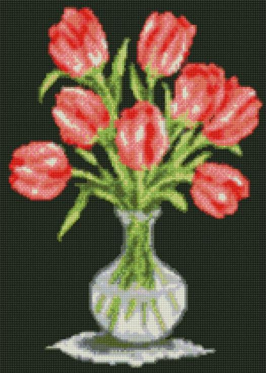 Стразы «Тюльпаны в вазе»Цветной<br>Инновационный вариант алмазной вышивки бренда «Цветной». Новые идеи, которые делают наборы от этого производителя ценным подарком:<br><br><br>холст, натянутый на деревянный подрамник, с закрепленным плотным картоном. Выкладывать стразы на такую основу легко ...<br><br>Артикул: A117<br>Основа: Холст на подрамнике<br>Сложность: сложные<br>Размер: 40x50 см<br>Выкладка: Полная<br>Количество цветов: 20-35<br>Тип страз: Круглые непрозрачные (акриловые)
