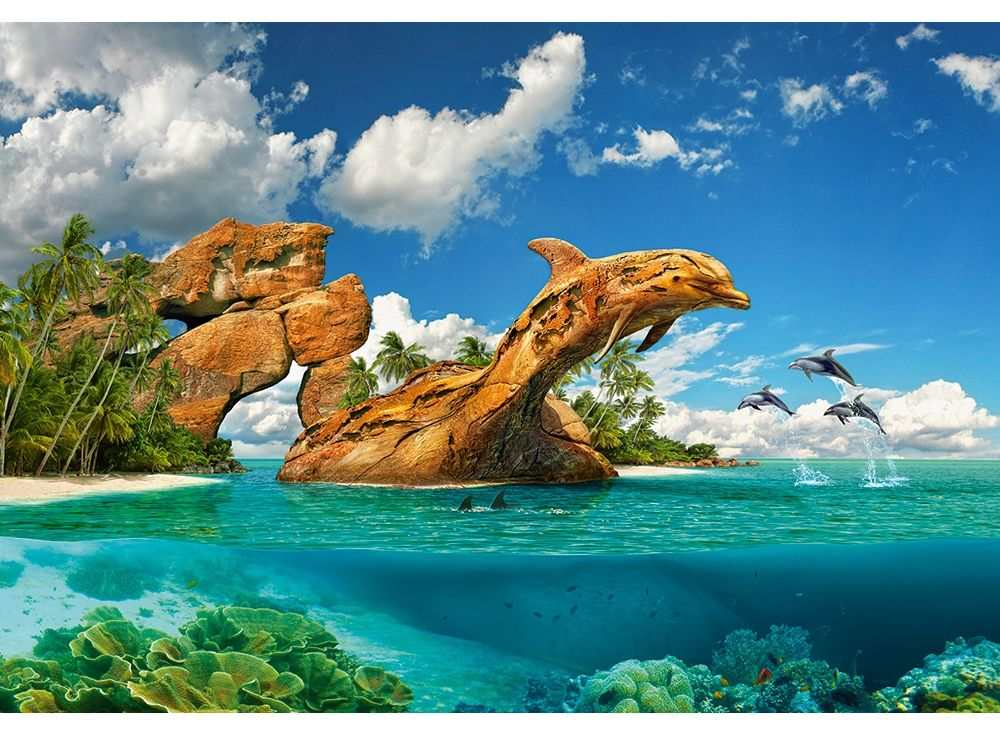 Пазлы «Дельфиний рай»Пазлы от производителя Castorland<br><br><br>Артикул: C103508<br>Размер: 68x47 см