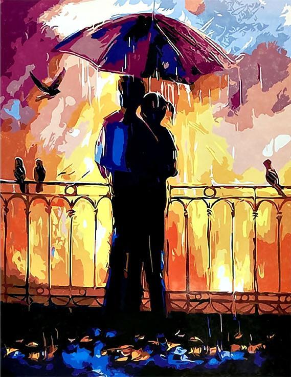 «Влюбленные под зонтом» Ольги ДарчукPaintboy (Premium)<br><br><br>Артикул: GX3210<br>Основа: Холст<br>Сложность: средние<br>Размер: 40x50<br>Количество цветов: 24<br>Техника рисования: Без смешивания красок