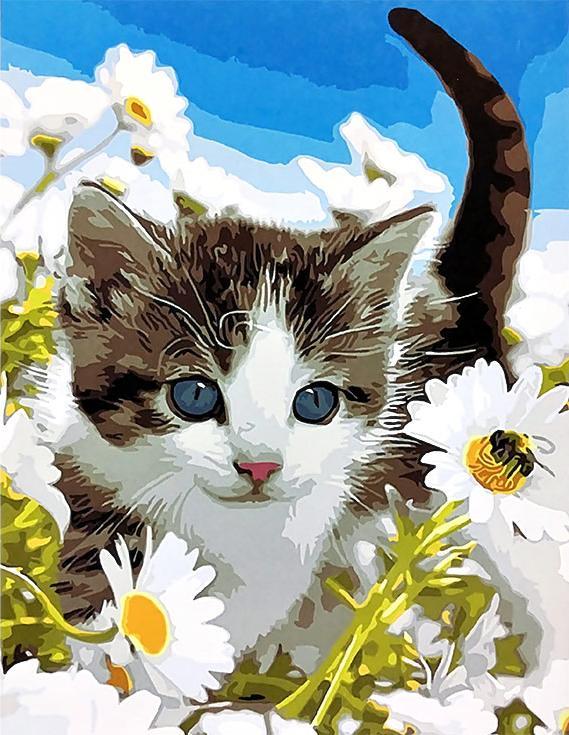 «Котенок в ромашках»Paintboy (Premium)<br><br><br>Артикул: GX3219<br>Основа: Холст<br>Сложность: средние<br>Размер: 40x50 см<br>Количество цветов: 26<br>Техника рисования: Без смешивания красок
