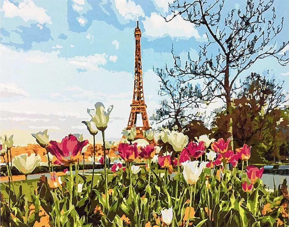 Картина по номерам «Парижские тюльпаны»Раскраски по номерам Paintboy (Original)<br><br><br>Артикул: GX3258_R<br>Основа: Холст<br>Сложность: сложные<br>Размер: 40x50 см<br>Количество цветов: 28<br>Техника рисования: Без смешивания красок