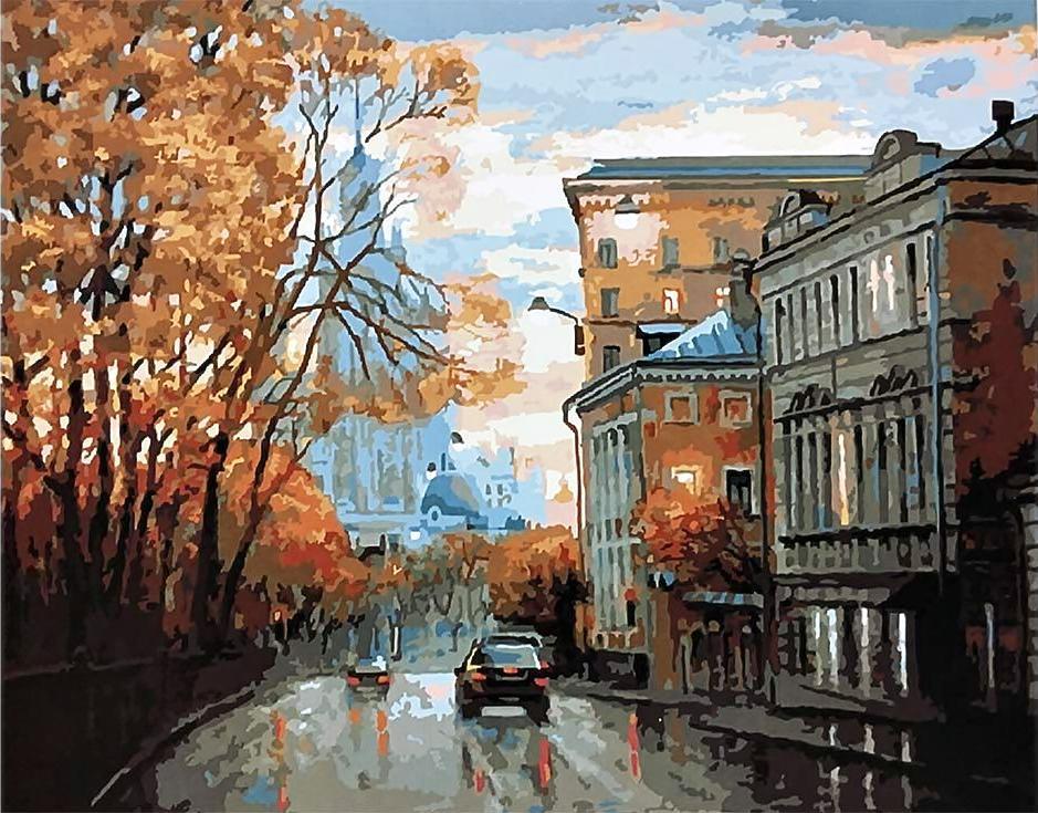 «Осенняя улица» Игоря РазживинаРаскраски по номерам Paintboy (Original)<br><br><br>Артикул: GX3260_R<br>Основа: Холст<br>Сложность: сложные<br>Размер: 40x50 см<br>Количество цветов: 28<br>Техника рисования: Без смешивания красок
