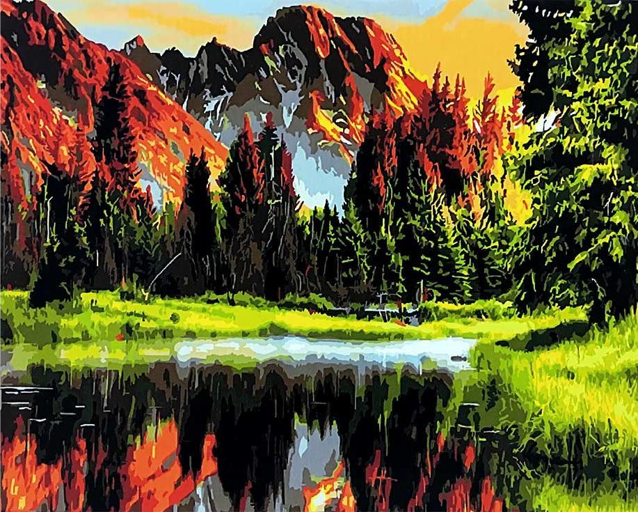 Картина по номерам «Озеро на закате»Раскраски по номерам Paintboy (Original)<br><br><br>Артикул: GX3348_R<br>Основа: Холст<br>Сложность: средние<br>Размер: 40x50 см<br>Количество цветов: 24<br>Техника рисования: Без смешивания красок