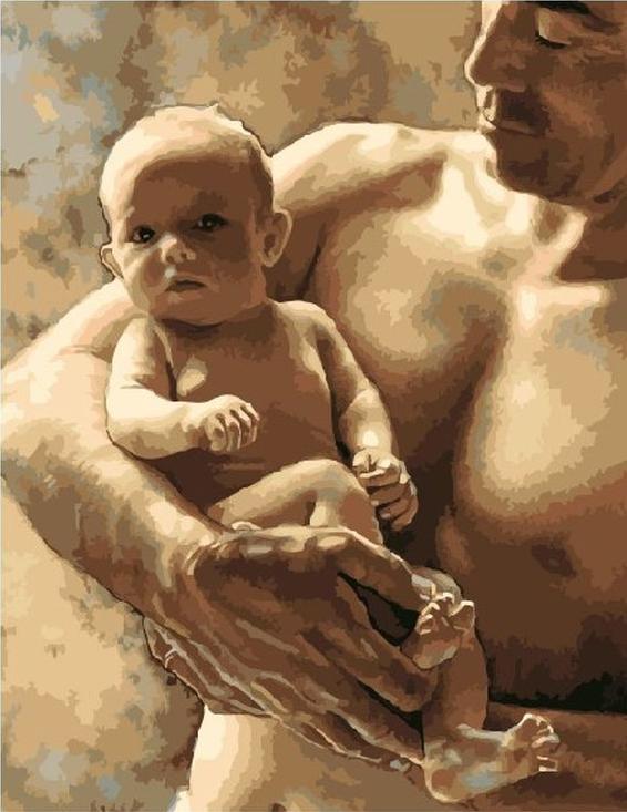 «Отец и младенец» Стива ХэнксаPaintboy (Premium)<br><br><br>Артикул: GX3433<br>Основа: Холст<br>Сложность: средние<br>Размер: 40x50<br>Количество цветов: 22<br>Техника рисования: Без смешивания красок