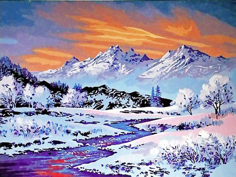 «Заснеженные вершины»Paintboy (Premium)<br><br><br>Артикул: GX3485<br>Основа: Холст<br>Сложность: средние<br>Размер: 40x50<br>Количество цветов: 24<br>Техника рисования: Без смешивания красок