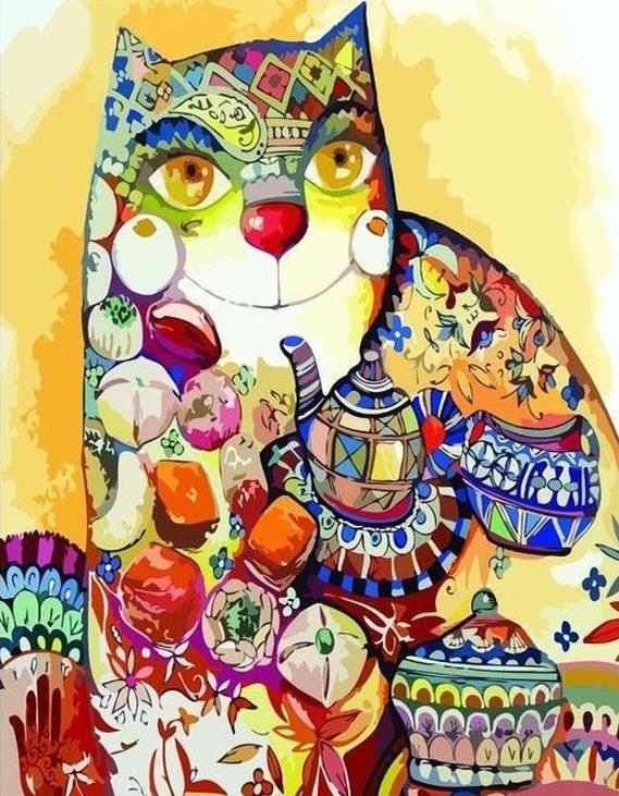 Картина по номерам «Чайный кот»Paintboy (Premium)<br><br><br>Артикул: GX3524<br>Основа: Холст<br>Сложность: сложные<br>Размер: 40x50 см<br>Количество цветов: 25<br>Техника рисования: Без смешивания красок
