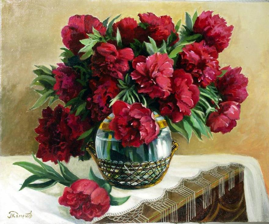 «Красные пионы» Георгия КаменеваPaintboy (Premium)<br><br><br>Артикул: GX3563<br>Основа: Холст<br>Сложность: средние<br>Размер: 40x50 см<br>Количество цветов: 24<br>Техника рисования: Без смешивания красок