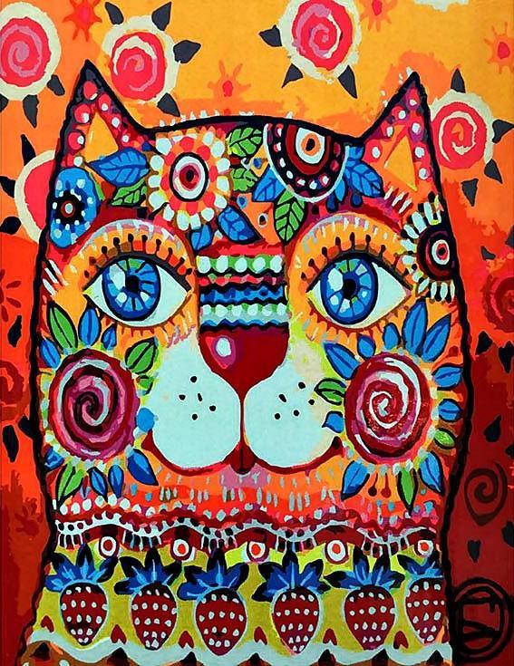 «Цветочно-фруктовый кот» Оксаны ЗаикиPaintboy (Premium)<br><br><br>Артикул: GX3568<br>Основа: Холст<br>Сложность: средние<br>Размер: 40x50<br>Количество цветов: 23<br>Техника рисования: Без смешивания красок