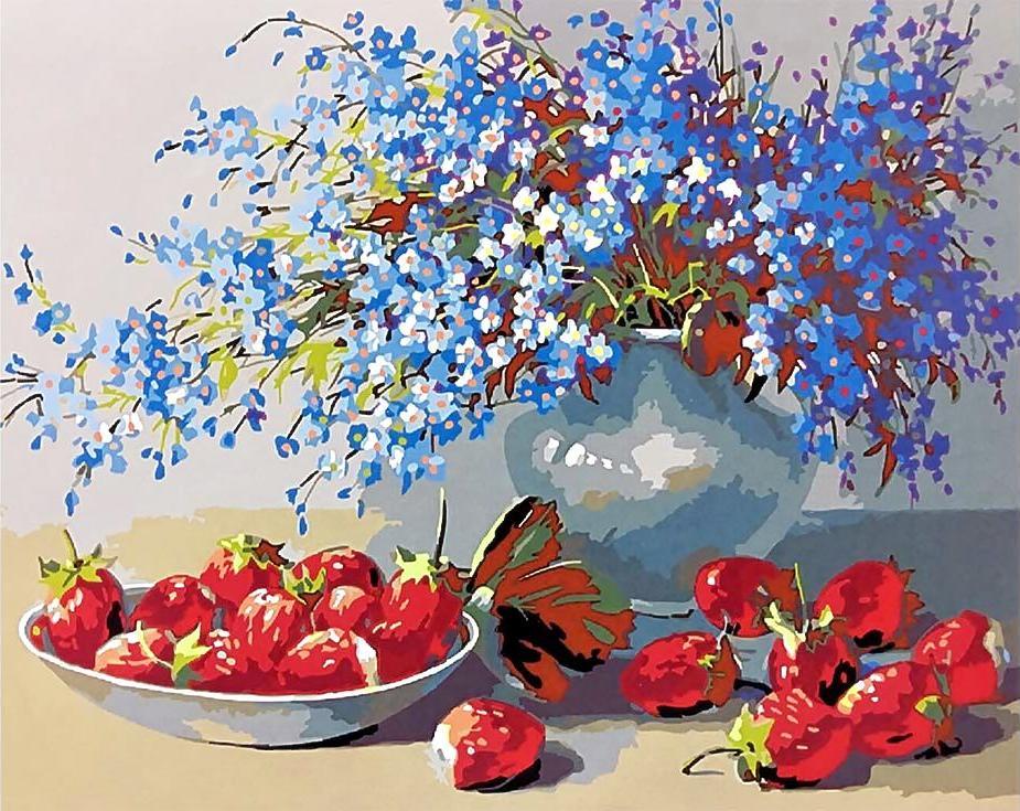 Картина по номерам «Контрастный натюрморт» Николая БулыгинаPaintboy (Premium)<br><br><br>Артикул: GX3578<br>Основа: Холст<br>Сложность: средние<br>Размер: 40x50 см<br>Количество цветов: 25<br>Техника рисования: Без смешивания красок